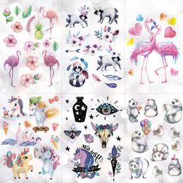 cute ponies cartoon 2019 - Waterproof Children Cartoon Tattoo Stickers Unicorn Panda Boy Arm Tattoos Temporary Girl Cute Flamingo Horse Flash Tatoo