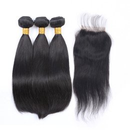 natural color closure Australia - LUMENG 3 Bundles Straight Hair with 4x4 Free Part Lace Closure 9A Brazilian Virgin Human Hair 100% Unprocessed Hair Extensions Natural Color
