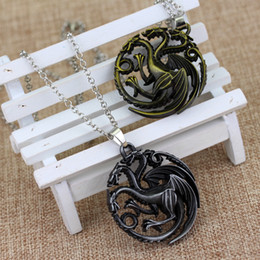 Discount game thrones daenerys pendant 50pcs Best selling necklace Flim Jewelry Daenerys Targaryen Dragon Necklace Game of Throne Fire And Blood 3 styles free