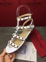 Best Flats Australia - 2019 Quality luxury fashion Best Buckle-strap Women's shoes SummerSandals Brand Gladiator Studded Flat with rivets Women Shoes Woman Sandals