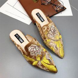 $enCountryForm.capitalKeyWord Australia - Lotus Jolly 2017 Women Fur Slides Embroidery Half Slippers 3d Embroider Velvet Mules Shoes Woman Flats Flower Decoration Kendall