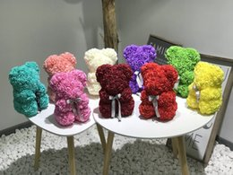 $enCountryForm.capitalKeyWord Australia - Dropshiping 40cm Bear of Roses with LED Gift Box Teddy Bear Rose Soap Foam Flower Artificial New Year Gifts for Women Valentines