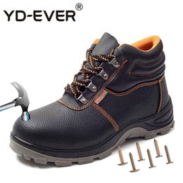Lace yds online shopping - YD EVER Plus Size Men Safety Shoes High Quality Steel Toecap Steel Insole Oil Resistant Anti erode Safety Boots Men Work Shoes