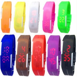 Screen candy online shopping - Kids Led Digital Display Wristwatch Silicone Belt Touch Screen Watch Unisex Rectangle Candy Rubber Wrist Watch Party Favor AAA1635