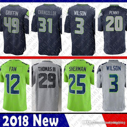 Seattle 49 Shaquem Griffin 3 Russell Wilson Seahawks Jersey 12 12th Fan 31  Kam Chancellor 20 Rashaad Penny 25 Sherman 16 Lockett 29 Thomas e0fa9c94b