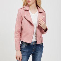 Cool Jackets Zippers NZ - Faux Leather Slim Women Jacket Zipper Streetwear Cool Pockets Short Coat Solid Color Motorcyle Outerwear