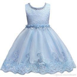 $enCountryForm.capitalKeyWord UK - Flower Girl Dresses Jewel Neck Lace Appliques Satin Pageant Dress Kids Communion Birthday Dresses Formal Wear