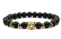 fish balls Australia - 8mm fdh3d gold silver ball Frosted agate Onyx nature black stone Lion head Bracelet Reiki Chakra Fashion