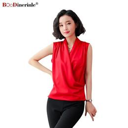 39fd94df19fb16 BOoDinerinle Elegante Frauen Sommer Bluse Chiffon V-ausschnitt Rote Bluse  Frauen Plus Size Sleeveless Dünne Büro Tops Für