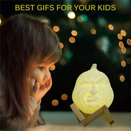 Magical Lighting Australia - USB LED Magical 3D Printed Table Night Light Face Shape Pumpkin Light RGB Desk Lamp with Remote Control Halloween Holiday Decoration Gift