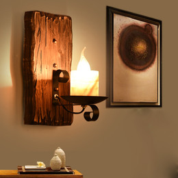 Loft Clothes Australia - Vintage Solid Wood Metal Wall Lamp Antique Loft Wall Light Bar Diffuse Coffee Clothing Store Candle Wall Sconces