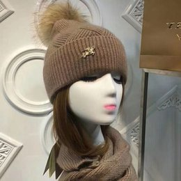 embellished scarves Australia - Top Quality Celebrity design Letter Woolen Scarf Hat Men Woman Cashmere wool Fox hair ball hat 2pc 40653491 80071931 008 With Box