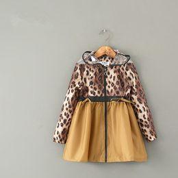 $enCountryForm.capitalKeyWord Australia - High Quality Fashion Leopard Print Waterproof Portable Kids Girls Raincoat Hooded Cartoon Children Rain coat Suit Ponchos Dress