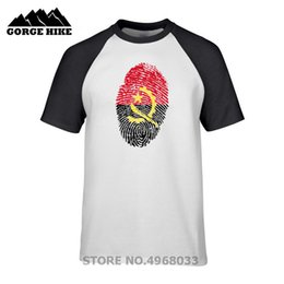 Discount gifts fingerprint - Country Flag Style Summer T-shirt Angola Fingerprint Birthday Gift Party Guys Popular 100% cotton T shirt Men short slee