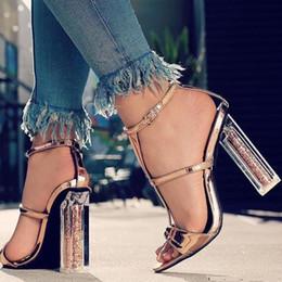 $enCountryForm.capitalKeyWord Australia - Wedding Glitter Heels Sandals Summer Block High Heeled Chunky Heels Ankle Strap Sandals Sexy Lady Party Dress Gold Shoes