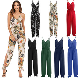 Discount deep v neck backless jumpsuit - 2019 Spring And Summer Models Sexy Backless Tether Deep v-Neck Floral Solid Color Lace Strap Long Jumpsuit