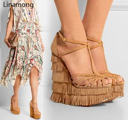height increasing sandals NZ - new fashion cut-outs cross strap tassels wedge sandals high platform height increasing woman sandal shoes Y200620