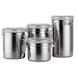 $enCountryForm.capitalKeyWord UK - 4PCS Set Sealed Jar Portable Storage Canisters Container Coffee With Airtight Lids Silver Stainless Steel Organizer