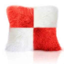 $enCountryForm.capitalKeyWord Australia - Square Shaped Single side Faux Wool Fur Cushion Covers Fluffy Soft Plush Throw Pillow Cover pillowcase pillowslip sofa car Decor washable