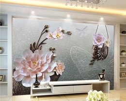 small house kitchens Australia - Custom Any Size 3d Wallpaper Small Fresh Flower Embossed TV Living Room Bedroom Background Wall Decoration Mural Wallpaper