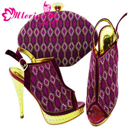 $enCountryForm.capitalKeyWord NZ - New Arrival African Shoes and Bag Set-PURPLE Decorated with Rhinestone Ladies Shoes with Matching Bags High Quality Party Shoes