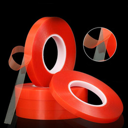 Double Sided Tape Lcd NZ - 2mm 50M Double Sided Tape Strong Acrylic Adhesive Red Film Clear Sticker for Mobile Phone LCD Pannel Display Screen Repair Tool