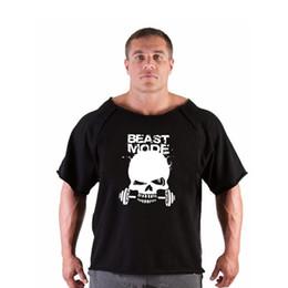 Black Shirt Loose Skull Australia - Running T Shirts Cotton Loose Skull T-shirt Mens Gorilla Golds Gym Fitness Muscle Training Clothing Bodybuilding tshirt Workout