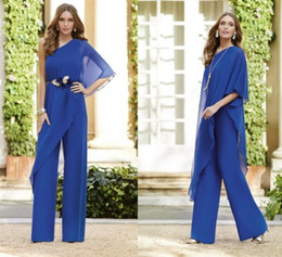 panting pictures Australia - 2019 Chiffon Jumpsuits Mother of the Bride Dress Pants Suits One Shoulder Evening Gowns Custom Floor Length A Line Prom Dress FL1503