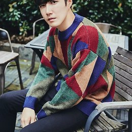 Korean Clothes Sweater Knits Australia - Fashion Trendy Casual Men Sweater Wool Retro Pullover Men Korean Style Warm Sweater Knitted Erkek Giyim Kazak Man Clothing MY015
