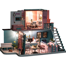Coffee Housing Australia - Miniature Pink Coffee Shop Loft Dollhouse Furniture Kits DIY Wooden Dolls House With LED Light Puzzle Toy Children Birthday Gift