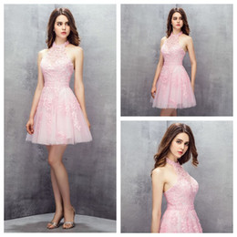 beautiful sexy short party dresses NZ - Halter Tulle A-Line Light Pink Homecoming Dresses Short Lace Appliques Pearls Beading Beautiful Prom Dresses Backless Sexy Dresses for Party