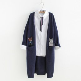 Cat Cardigan woman online shopping - Double pocket cat embroidery Cardigan sweaters mori girl high quality autumn winterMX190928
