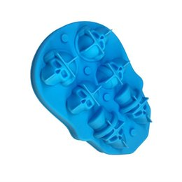 silicone cake ball NZ - 6 Cavities Halloween Silicone 3D Skull Shape Mold Ice Ball Cube Tray With Lid Ice Cube Maker Chocolate Cake Baking DIY Tools