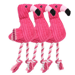 plush dog rope toy 2019 - Flamingo Squeaky Dog Chewing Toys pink Pet Puppy Squeaky Bird Shape Plush Toys Cotton Rope Chewing Training Toys Pet Sup