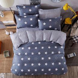 home cloud lighting 2019 - JU Home Bedding Sets White Star Clouds Plaid Twin full queen kingsize Duvet Cover Sheet Pillowcase Bed Linen Bedclothe 6