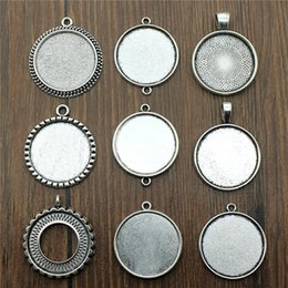 Discount pendant base diy - 10pcs lot Fit 25mm Round Glass Cabochon Base Setting Pendant Tray For Jewelry DIY Making Antique Silver Color FM4029