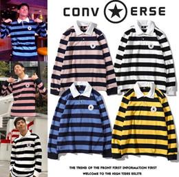 $enCountryForm.capitalKeyWord Australia - Classic hoodie sweatshirt 19SS new retro sweater logo applique embroidery Polo collar long sleeve striped shirt for men and women M L XL XXL