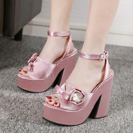 Pink Shoes Punk Australia - Punk Sandals Women High Heels Spring Summer Shoes women footwear heels flower pumps summer pink shoes chunky sandals YMA803