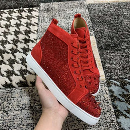 $enCountryForm.capitalKeyWord Canada - Red Suede Leather & Pik Pik Spikes & Strass Red Bottom Sneakers For Women,Men Leisure Top quality High Top Casual Walking With Box,Dust Bag