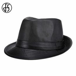 FS Marca Nuevo Negro PU Sombrero Fedora Para Hombres Clásico Estilo de  Inglaterra Gorras Casual Moda Jazz Sombreros Vintage Wide Visor de Ala  D19011102 8040b4527d1