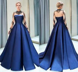 designer crystals Australia - Royal Blue Sexy Illusion Bodices Formal Evening Dresses High Neck Crystals Beaded Sheer Long Sleeves Burgundy Designer Prom Dress CPS1160
