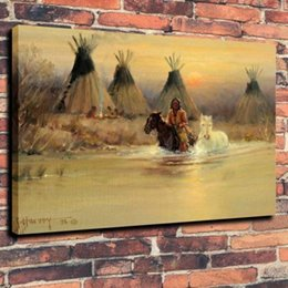 indian frames UK - Indians Horse Tipi River Home Decor Handcrafts  HD Print Oil Painting On Canvas Wall Art Canvas Pictures 191105