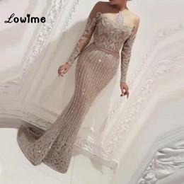 $enCountryForm.capitalKeyWord Canada - Illusion Long Sleeves Mermaid Arabic Dubai Women Evening Dresses Abendkleider Dress Elegant 2018 Bling Fabric Party Gowns Y19042701