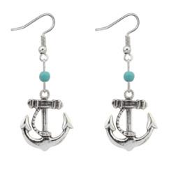 $enCountryForm.capitalKeyWord Australia - European And American Fashion Simple Anchor Bead Earrings Antique Imitation Turquoise Pendant Silvery Earrings