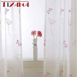 princess curtains Australia - Pink Butterfly Window Sheer Curtains For Living Room Embroidered Voile Tulle For Baby Girls Bedroom Yarn Princess WP266&30