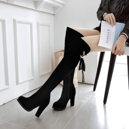 sexy thigh high heel boots Australia - Hot Sale-size 33 to 43 chunky heel lace up over the knee thigh high boots sexy winter boots fashion luxury designer women boots