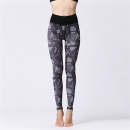 edf504daf2b5ec High Waisted Workout Leggings Womens Sports Yoga Cropped Pants Fitness  Running Dance Cropped Trousers Print Elastic Tight Ankle Length Pants