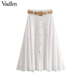 $enCountryForm.capitalKeyWord Australia - Vadim Women Elegant Firm Midi Skirts Tighten Keys Decorate Beach Style White Chic Medium Waden Stylish Faldas Mujer Ba611 Y19071501