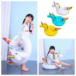Inflatable Bath Kids NZ - INS Inflatable Unicorn Floats Kids Unicorn Float Swimming Ring Baby Unicorn Life Buoy Floating Ring Outdoor Play CCA11541 10pcs
