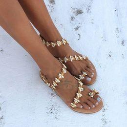 Crystal Heads Australia - women's summer footwear calzado mujer flat 2019 Summer Bohemian Crystal Diamond Metal Head Sandals Women Flat-Soled Shoes #4gh